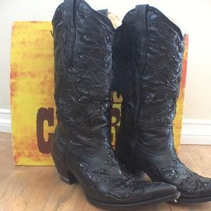 Corral Black Goat sequence leather cowboy boots